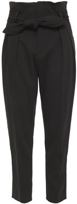 IRO Cropped Belted Cotton-blend Tapered Pants