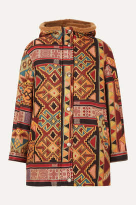 Etro Hooded Faux Shearling-lined Jacquard Coat - Red