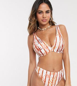 Peek & Beau Exclusive recycled polyester high leg bikini bottom in tropical stripe