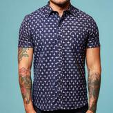 Blade + Blue Navy with White Ikat Short Sleeve Shirt - Gabriel