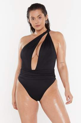 Nasty Gal Womens Cut It Out One Shoulder High-Leg Swimsuit - black - 6
