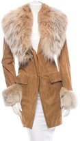 Loewe Lambskin and Fox Fur Coat