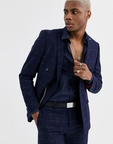 Twisted Tailor super skinny double breasted suit jacket in check