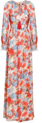 Mikael Aghal Tasseled Floral-print Plisse-georgette Gown