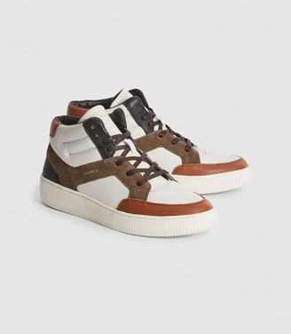 Reiss Grendon - Leather High-top Trainers in Brown
