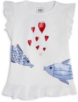 Armani Junior Girls' Fish & Hearts Tee - Sizes 4-6