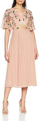 Frock and Frill Women's Bina V-Neck Pleated Skirt Midi Dress Party