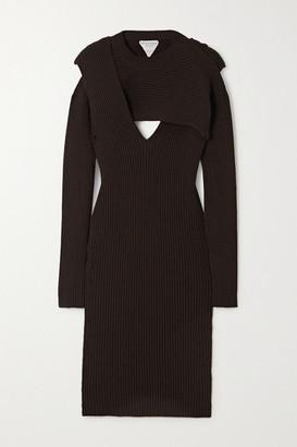 Bottega Veneta Cutout Ribbed-knit Midi Dress - Brown