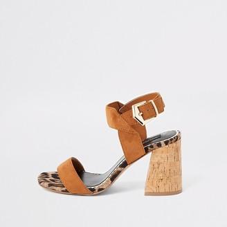 River Island Brown cork block heel wide fit sandals