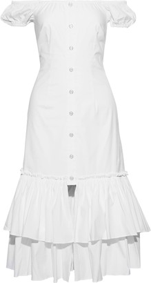 Caroline Constas Lyla Off-the-shoulder Tiered Cotton-blend Poplin Dress