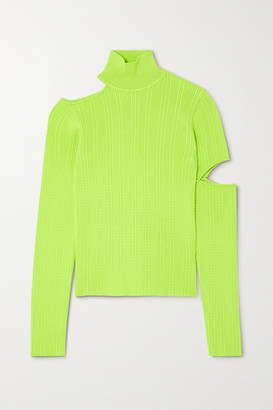 ANDERSSON BELL Jessica Embellished Cutout Neon Cable-knit Turtleneck Sweater - Green