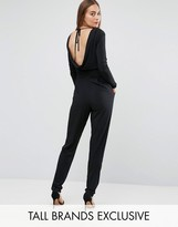 John Zack Tall Slinky Wrap Front Jumpsuit With Plunge Back Detail