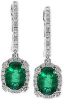 Effy Brasilica by Emerald (1-1/2 ct. t.w.) and Diamond (1/4 ct. t.w.) Earrings in 14k White Gold
