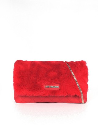 Love Moschino Red Quilded Eco-Leather & Faux Fur Shoulder Bag