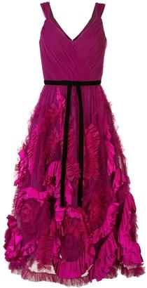 Marchesa Mix-Media Textured Tulle Tea Length Dress