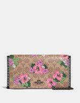 Coach Callie Foldover Chain Clutch In Signature Canvas With Blossom Print
