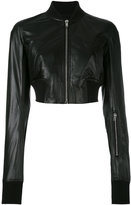 Rick Owens cropped bomber jacket - women - Cotton/Leather/Cupro - 44