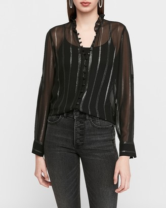 Express Slim Sheer Metallic Stripe Chiffon Portofino Shirt