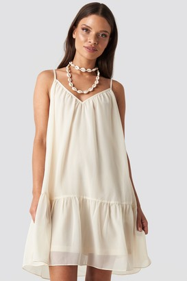 NA-KD Thin Strap Short Dress Beige