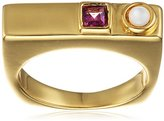 Lizzie Fortunato Gold-Plated Mosaic Ring in Pearl - Size N