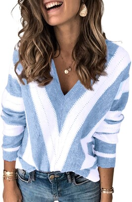 Asvivid Lady Knit Sweater Jumper Long Sleeve Striped V Neck Pullover Brown