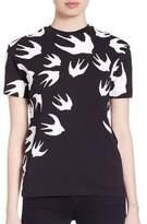 McQ Swallow Printed Cotton T-Shirt