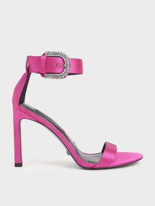 Charles & Keith Satin Embellished Buckle Stiletto Heels