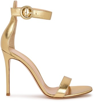Gianvito Rossi Portofino 105 gold leather sandals