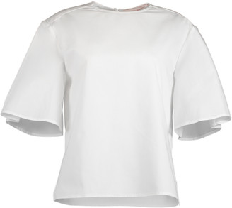 Carolina Herrera Wide Pleat Sleeve Crewneck Top