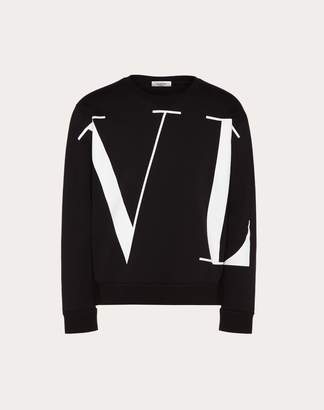Valentino Maxi Vltn Crew-neck Sweatshirt Man Grey Cotton 93%, Polyamide 7% XS