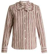 See by Chloe Floral-print striped cotton shirt
