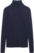 Hanro Silk And Cashmere-blend Jersey Turtleneck Top - Storm blue