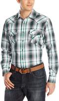 Cinch Men's Modern Fit Long Sleeve Plaid Shirt with Double Pieced Pocket Snap Front On The Bias