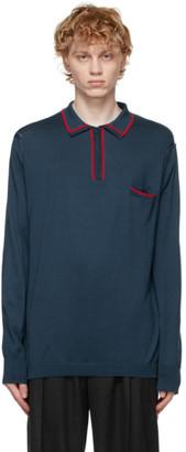 Maison Margiela Blue Knit Long Sleeve Polo