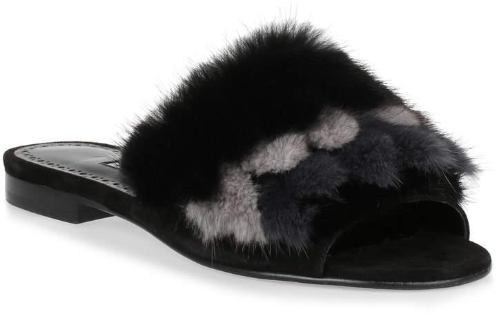 Manolo Blahnik Pelosusmin black fur slipper