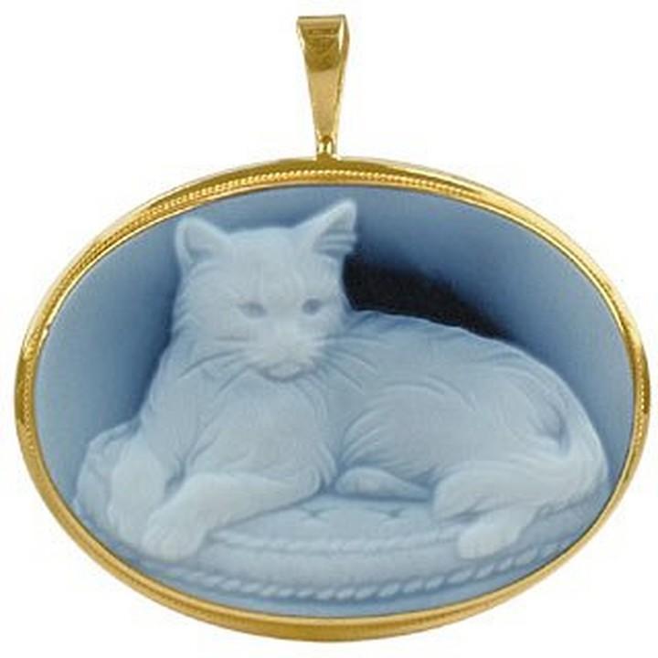 Del Gatto Cat Agate Stone Cameo Pendant / Pin