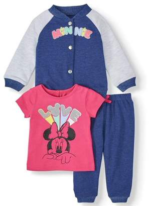 Disney Minnie Mouse Baby Girl Varsity Jacket, Jersey Tee, and Jogger, 3pc Outfit Set