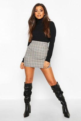 boohoo Tonal Check A Line Mini Skirt