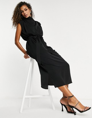 Pretty Lavish high neck crepe midi dress with tie waist in black