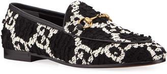 Gucci New Jordaan GG Tweed Horsebit Loafers