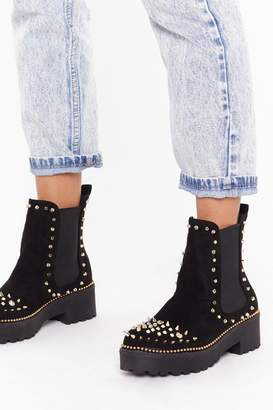 Nasty Gal Womens Devil's in the Detail Embellished Faux Suede Boots - black - 3