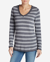 Eddie Bauer Women's Sweatshirt Sweater - Stripe V-Neck
