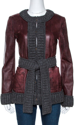 Dolce & Gabbana Burgundy Lamb Leather Rib Knit Trim Jacket M