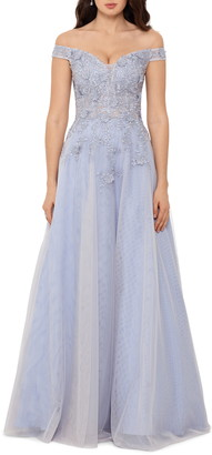 Xscape Evenings 3D Embroidered Floral Off the Shoulder Ballgown
