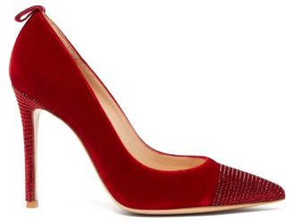 Gianvito Rossi Crystal 105 Velvet Pumps - Womens - Red