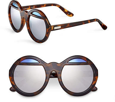 Le Specs Hall of Mirror 55mm Round Sunglasses