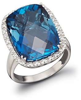 Bloomingdale's London Blue Topaz Cushion Ring with Diamonds in 14K White Gold - 100% Exclusive