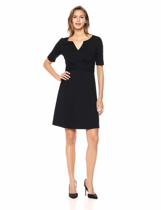 Lark & Ro Half Sleeve Front Twist Fit & Flare Dress Black 12