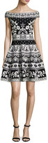 Alexander McQueen Floral-Knit Off-Shoulder Dress