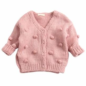 De feuilles Toddler Baby Girls Knitted Jumper Ruffled Crew Neck Sweater Knitwear Outfit Long Sleeve Tops